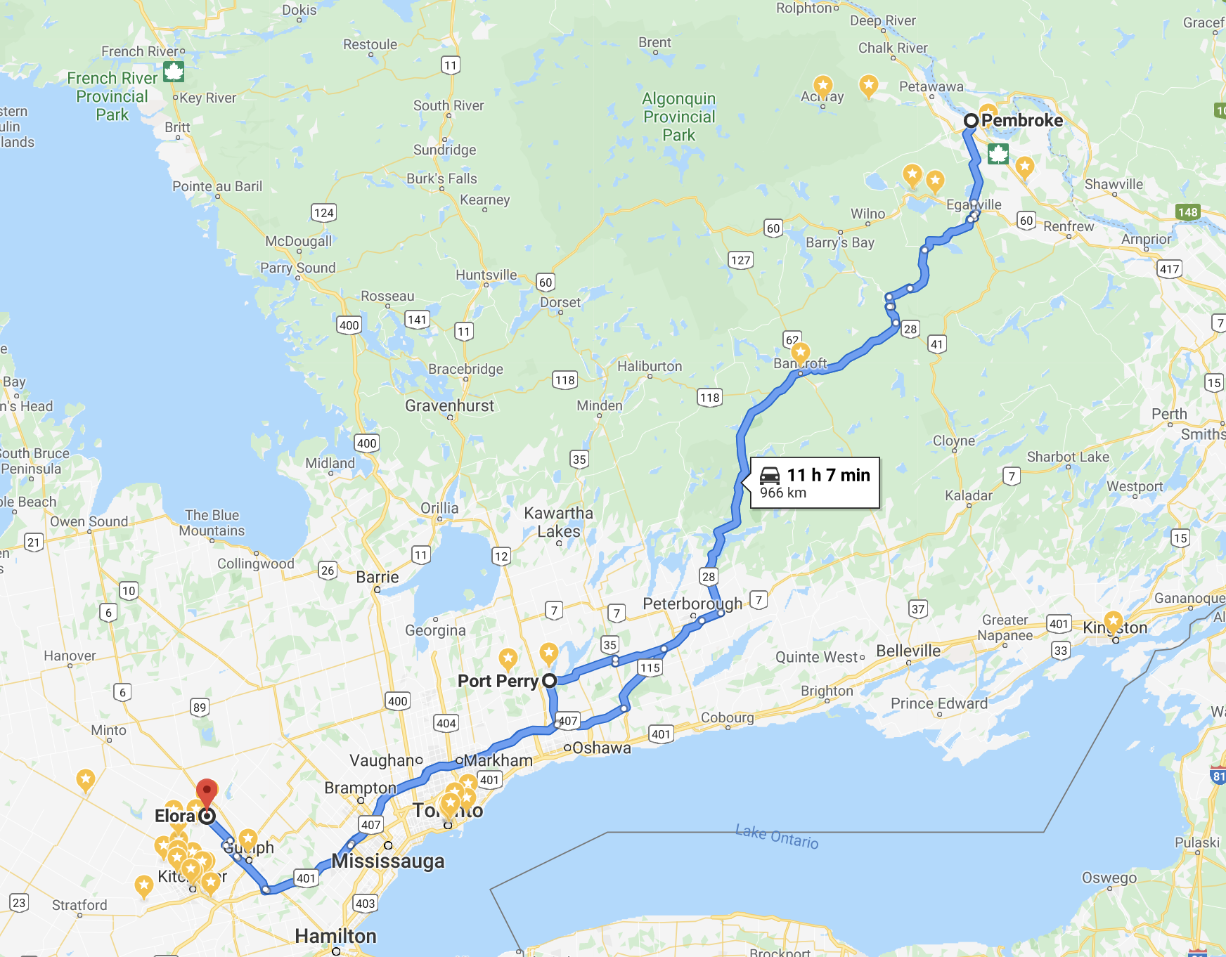 View of my route from Elora to Pembroke and back on Google Maps